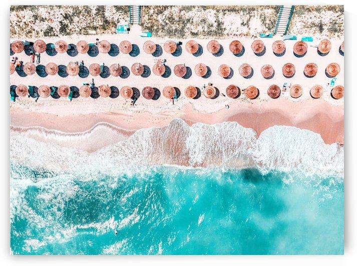 Aerial Ocean Print Beach Print Aerial Beach Print Round Umbrellas Beach Photography Sea Art Print by Radu Bercan