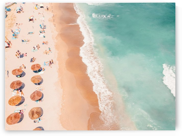 Aerial Ocean Print Beach Print Summer Vibes Aerial Beach People Umbrellas Print Beach Photography Sea Waves Art Print by Radu Bercan