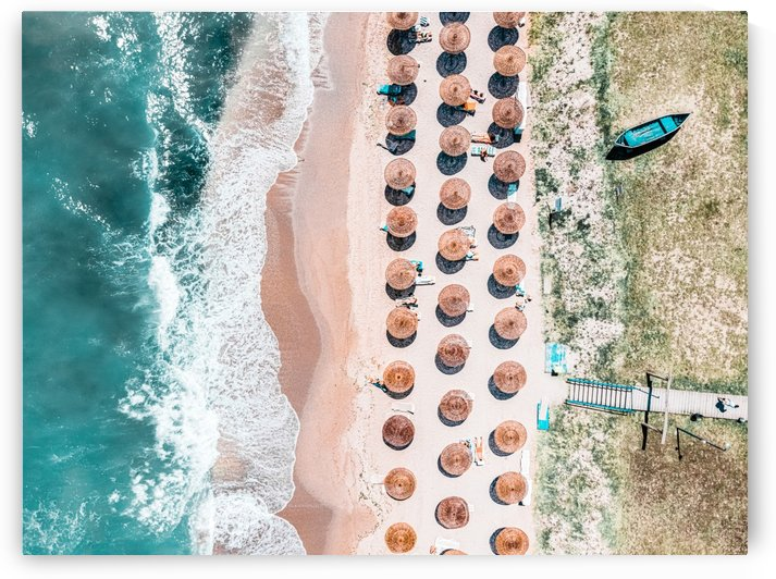 People On Beach Drone Photography Aerial Sea Photography Ocean Wall Art Print Framed Art Print Ocean Waves by Radu Bercan