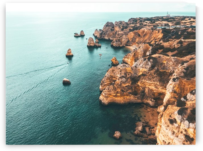 Ocean Landscape Print Aerial Ocean View Aerial Sea Lagos Bay Coast Algarve Portugal Drone Photo by Radu Bercan