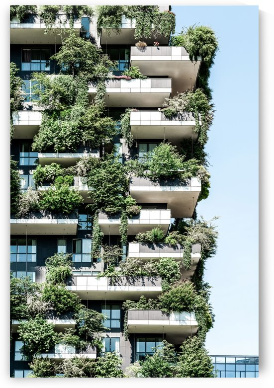 Bosco Verticale Modern Architecture Print Urban Jungle Vertical Forest Residential Towers Milan by Radu Bercan