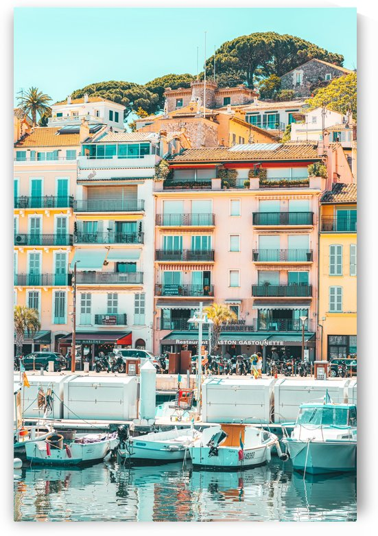 Cannes Downtown City Print Cannes Skyline Old Town French Riviera Yachts And Boats City Marina Port In France by Radu Bercan