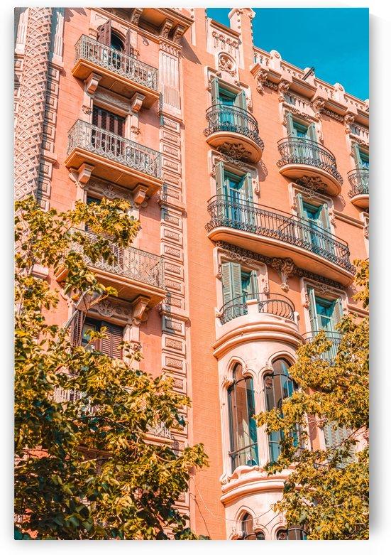 Barcelona City Spain Urban Architecture Beautiful Buildings Facade Coral Building Travel Print by Radu Bercan