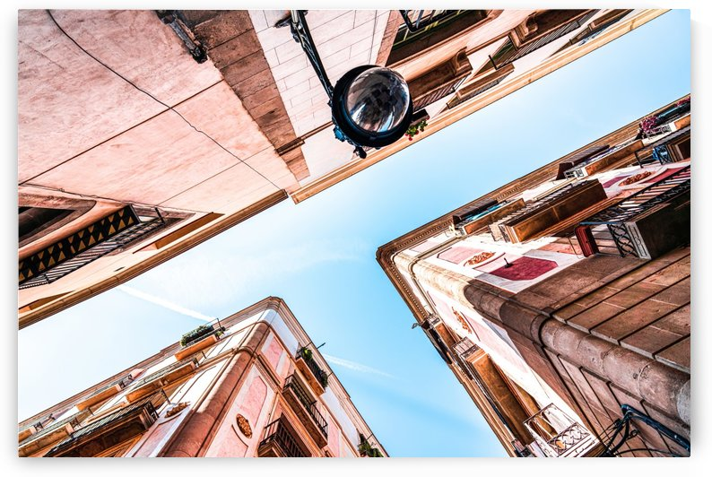 Gothic Quarter El Raval Barcelona City Perspective View Downtown Barcelona Spain Travel Print Vintage Architecture by Radu Bercan