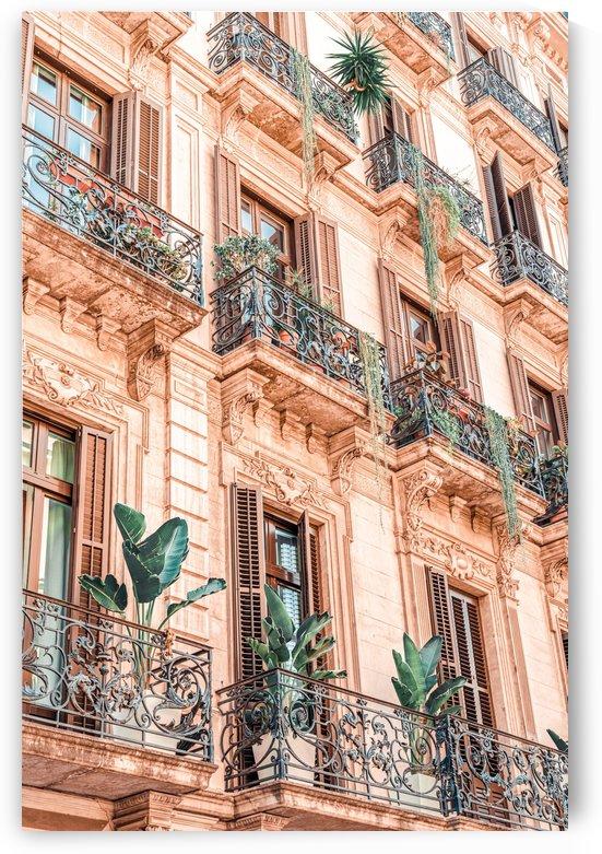 Vintage Facade Building Architecture City Barcelona Spanish Balcony Retro Apartments by Radu Bercan
