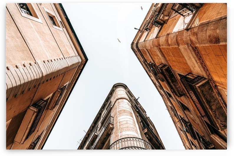Barcelona City Gothic Quarter Spain Urban Perspective View Downtown Looking Up Corner Architecture by Radu Bercan
