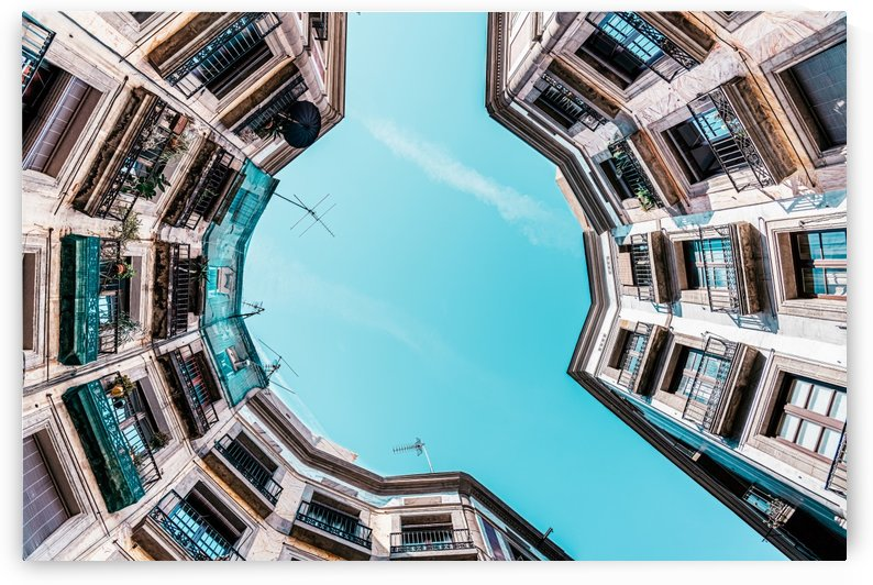 Looking Up Low Angle Perspective Travel Print Barcelona Gothic Quarter Buildings Architecture by Radu Bercan