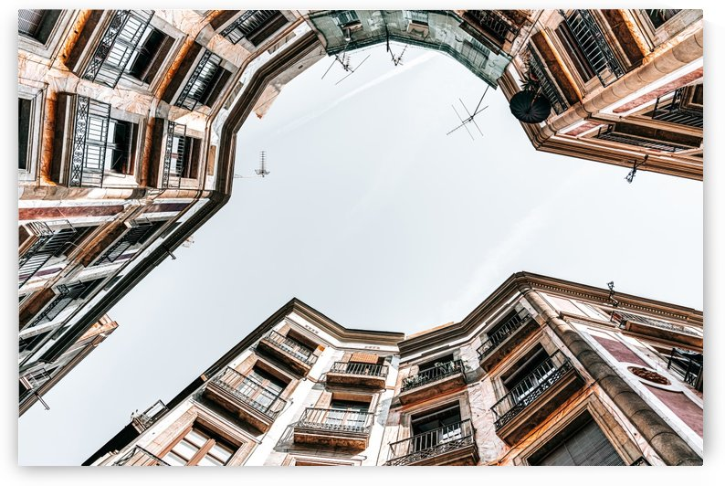 Travel Print Barcelona Gothic Quarter El Raval Low Angle Perspective View Downtown Barcelona by Radu Bercan
