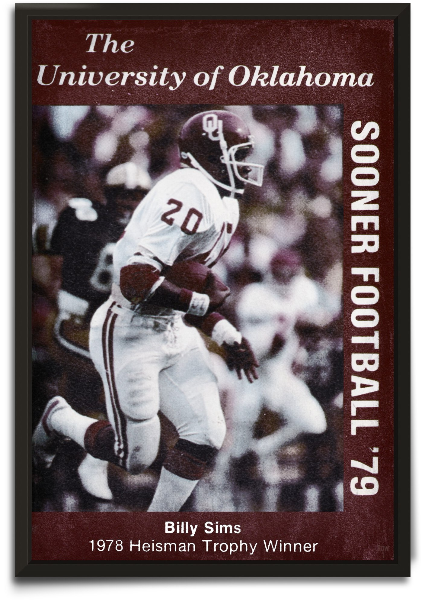1979 billy sims oklahoma sooners football poster by Row One Brand