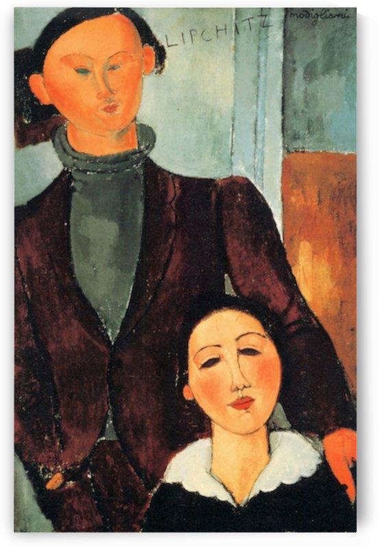 Modigliani - Jacques Lipchitz and his woman by Modigliani