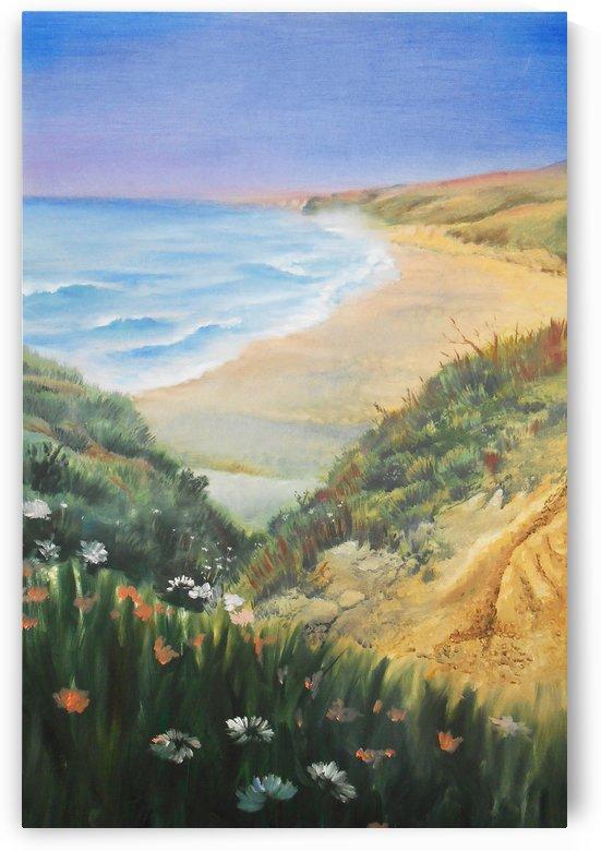 Ocean Shore Through The Hills by Irina Sztukowski