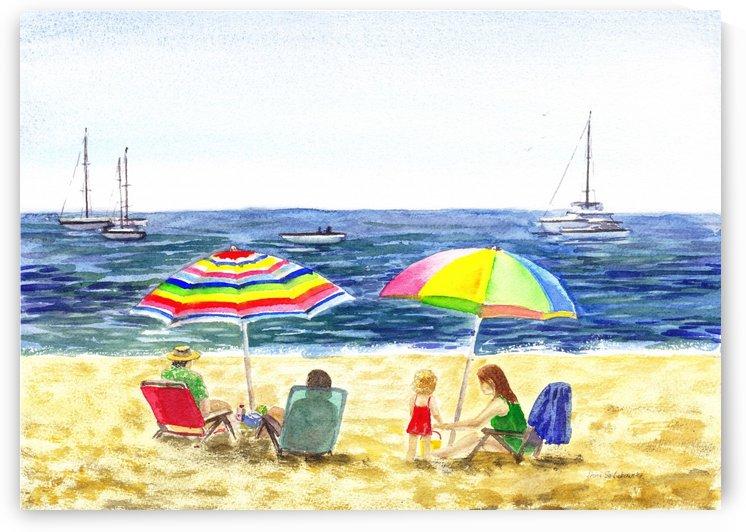 Two Umbrellas On The Beach by Irina Sztukowski