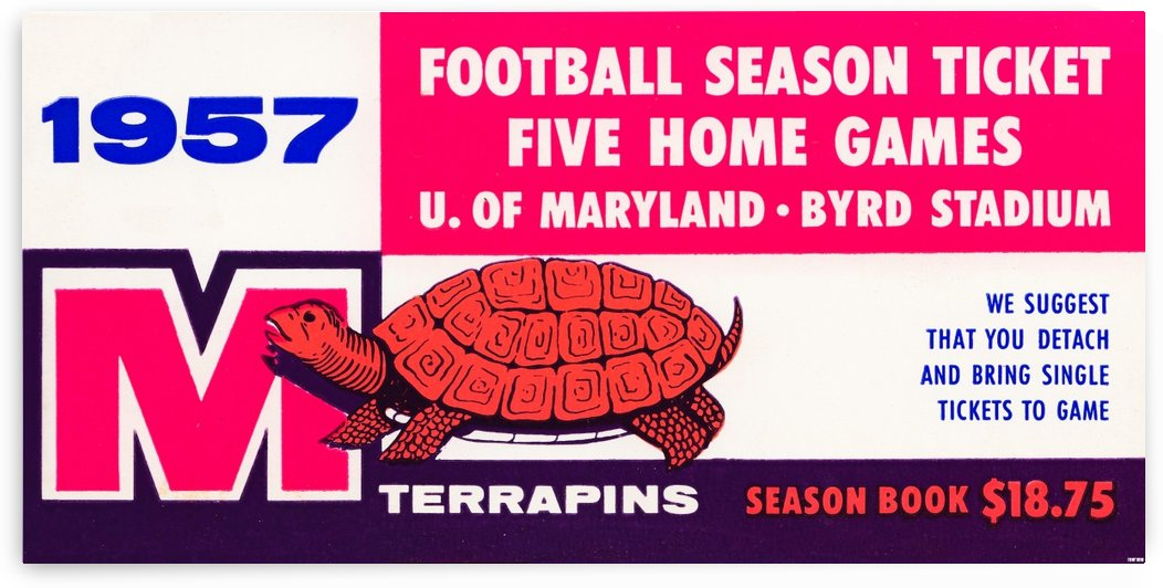 1957 maryland football season ticket art by Row One Brand