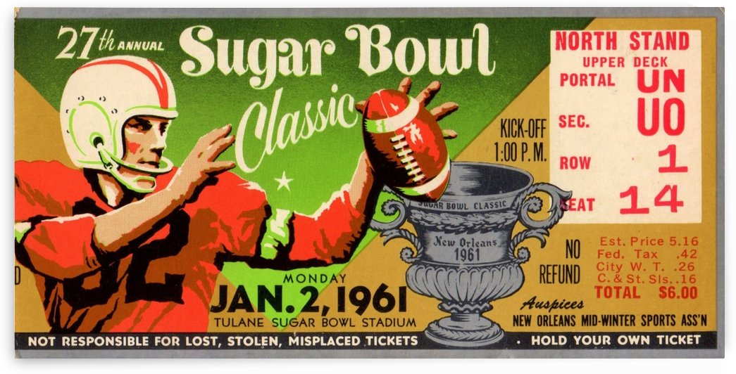 sugar bowl ticket stubs 1961 ole miss rebels art by Row One Brand