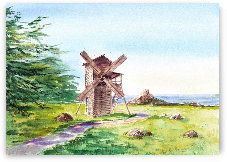 Landscapes Of California Fort Ross Windmill by Irina Sztukowski