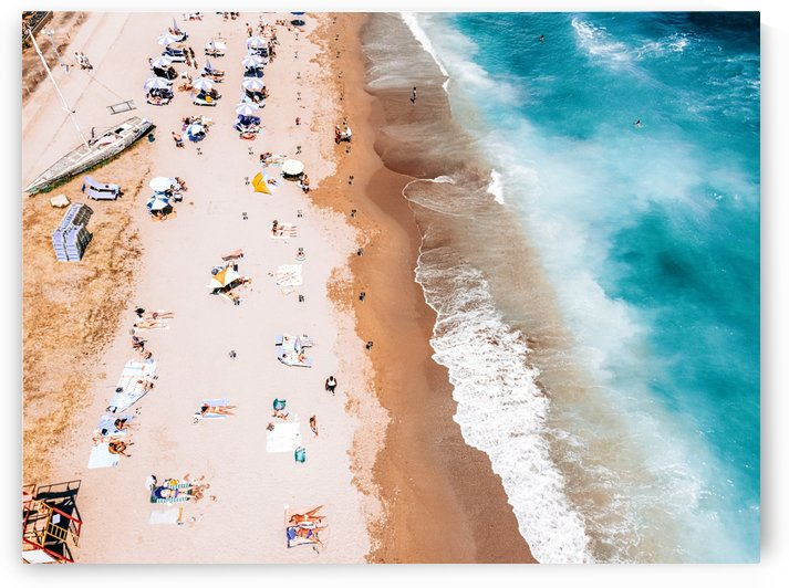 People Crowd On Beach Summer Vibes Aerial Crowded Beach Sea Beach Print Blue Ocean Art Print by Radu Bercan