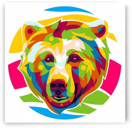Colorful Grizzly Head by wpaprint