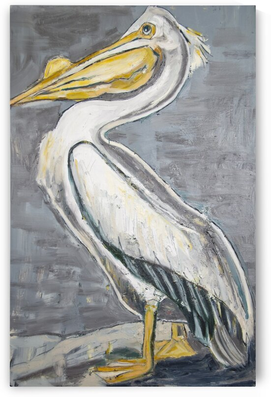 Louisiana White Pelican with Metallic Silver by Caroline Youngblood
