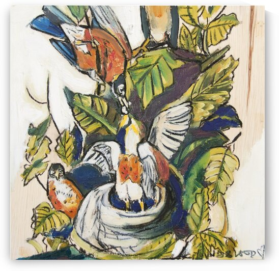 Louisiana Robins around Nest Study on Wood by Caroline Youngblood