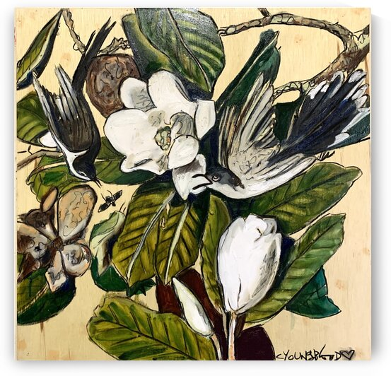 Louisiana Cuckoos and Magnolias Study on Wood by Caroline Youngblood