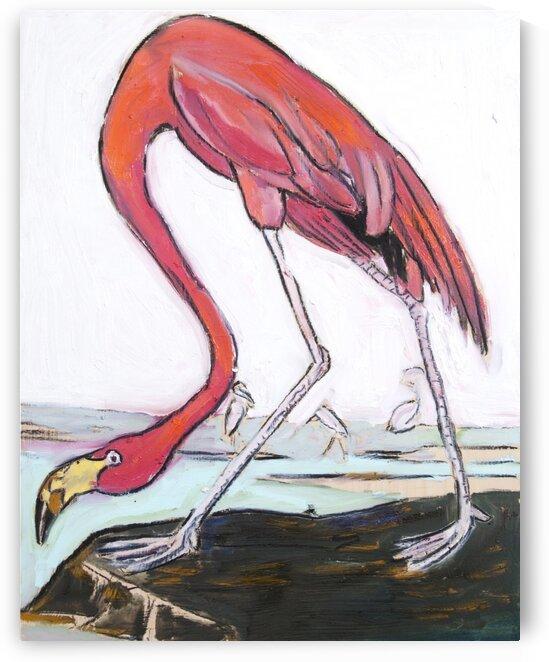 Louisiana Flamingo Study on Wood by Caroline Youngblood