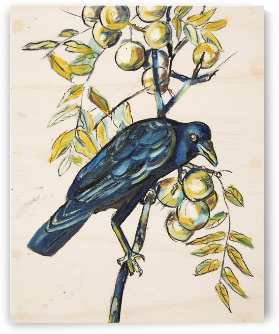 Louisiana Black Crow with Pears on Wood Panel by Caroline Youngblood