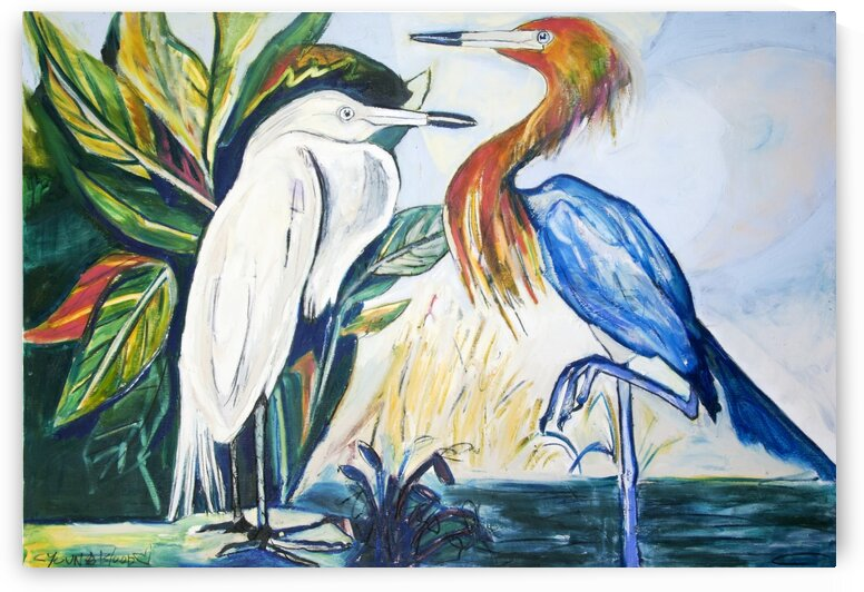 Louisiana Egrets Face to Face by Caroline Youngblood