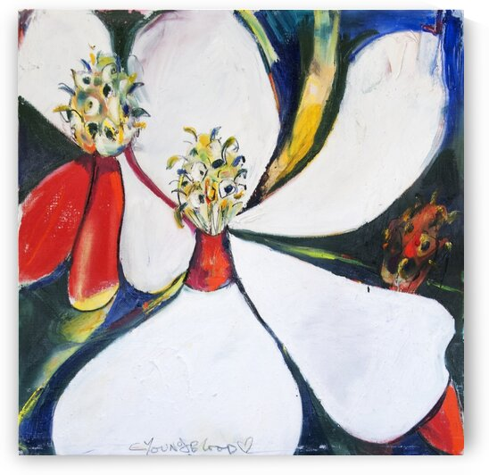 Square Louisiana Magnolia with Red Pods by Caroline Youngblood
