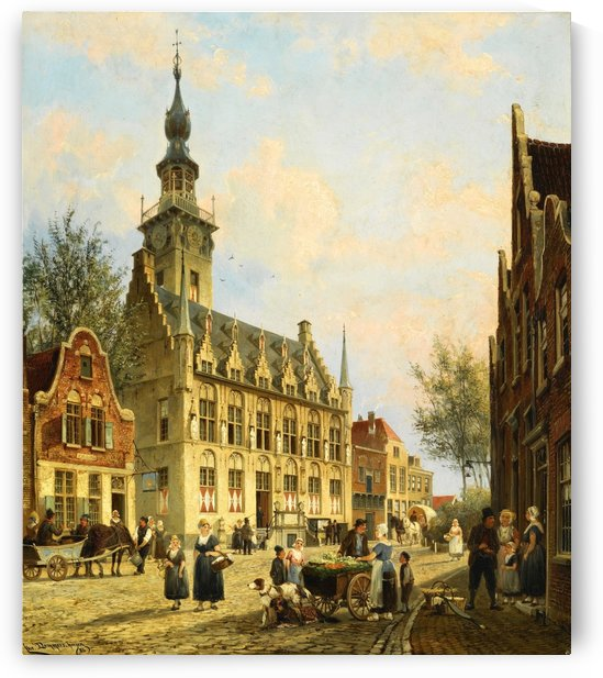 The Town Hall in Veere by Cornelis Christiaan Dommelshuizen
