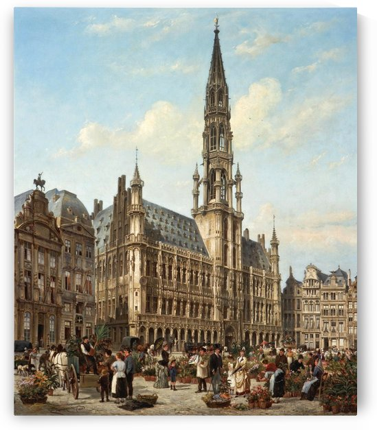 The Flower Market in the Grande Place, Brussels by Cornelis Christiaan Dommelshuizen