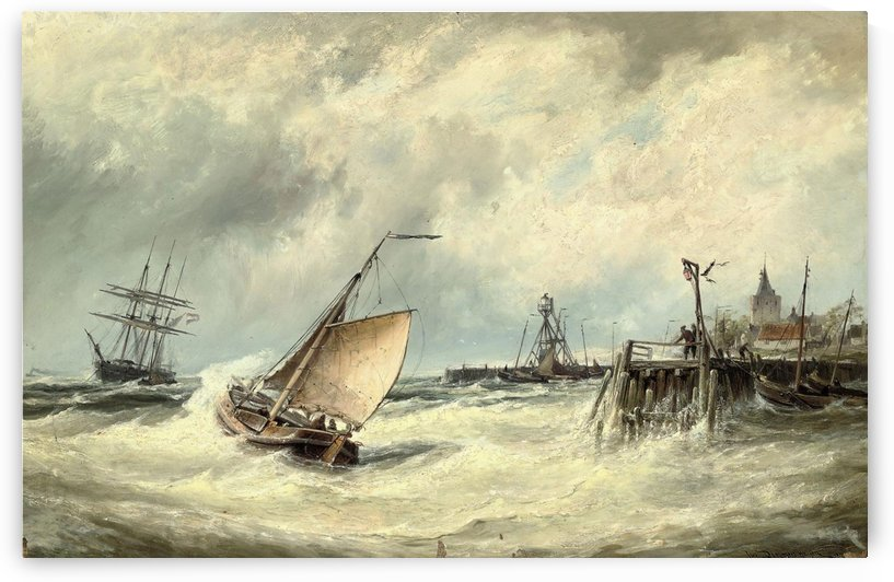 Boats leaving Dutch port by Cornelis Christiaan Dommelshuizen