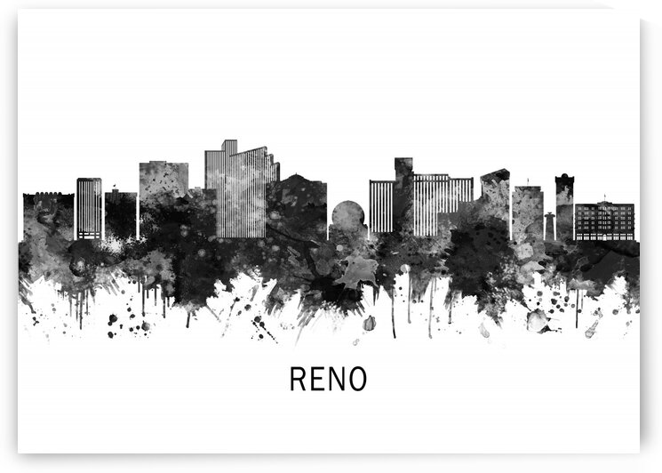 Reno Nevada Skyline BW by Towseef