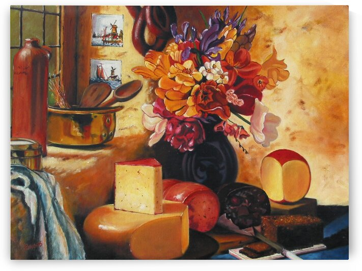 Cheese  and Floral Still Life by Rick Bayers