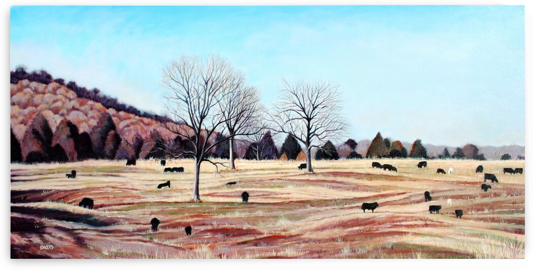 Hillside Fall Pasture with Cows by Rick Bayers
