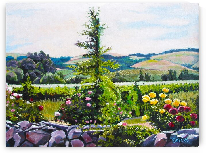 Rock Fence with Roses and tree by Rick Bayers