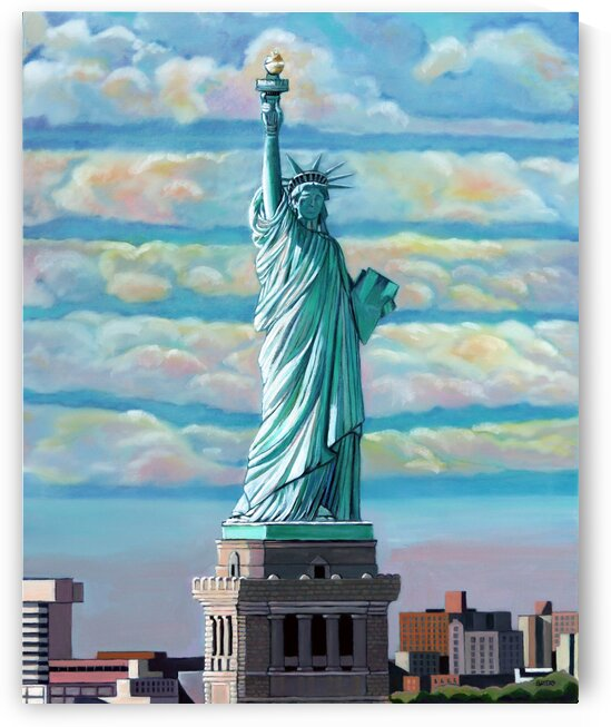 Statue of Liberty with Pink Clouds by Rick Bayers