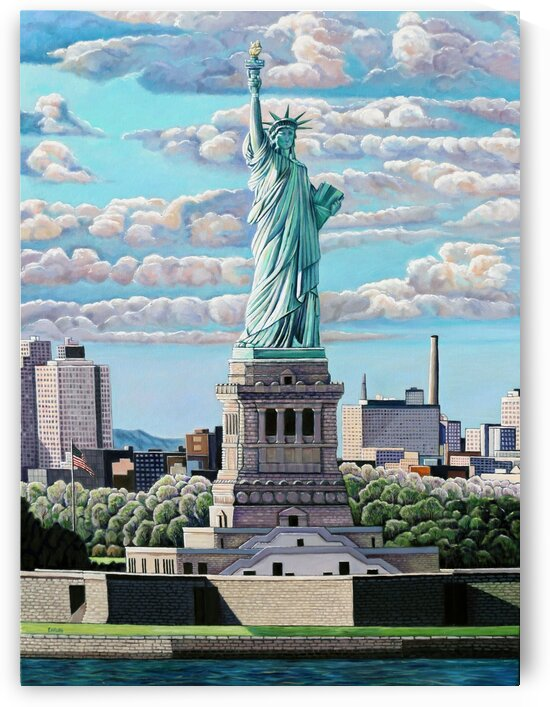Statue of Liberty with Big Clouds by Rick Bayers