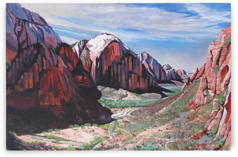 Mountains with Large Valley and River by Rick Bayers