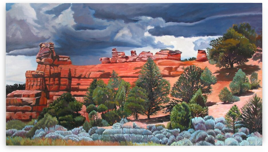 Red Mountains with Storm and Blue Sage by Rick Bayers