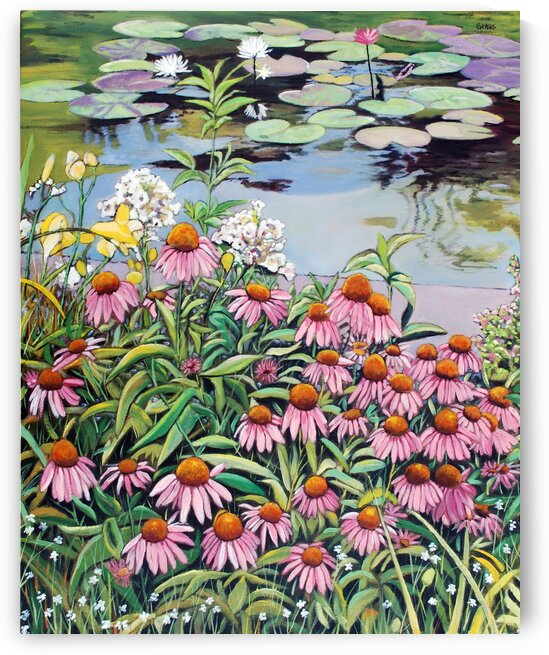 Water Lilies and Flower Garden  by Rick Bayers