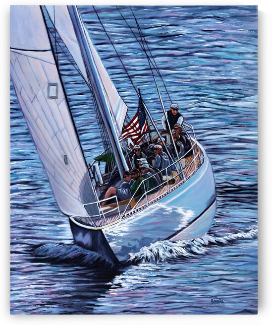 Sailboat with American Flag by Rick Bayers