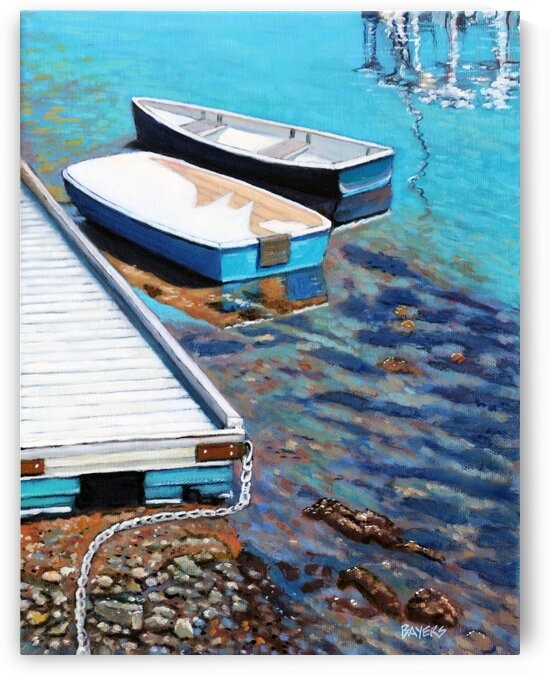 Two Blue Boats Near Dock by Rick Bayers