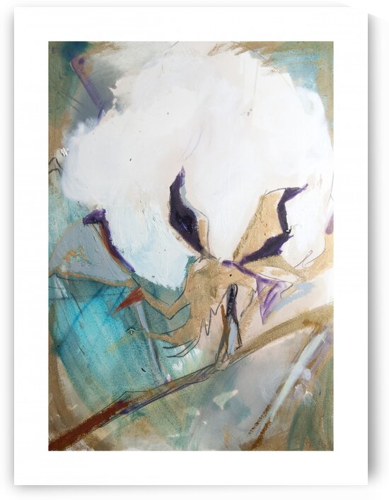 Cotton Abstraction with Teal Splash II by Caroline Youngblood