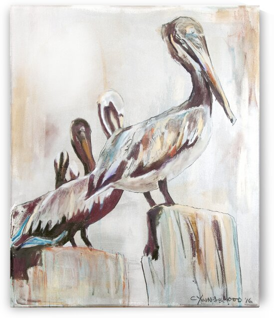 Louisiana Pelicans in the Fog with Metallic Silver by Caroline Youngblood