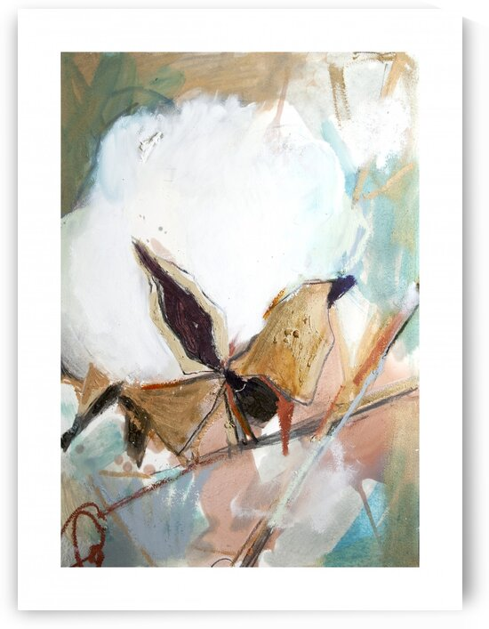 Cotton Abstraction with Teal Splash III by Caroline Youngblood