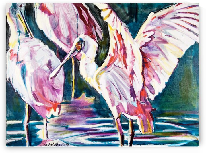 Louisiana Roseate Spoonbill With Her Heart Open by Caroline Youngblood