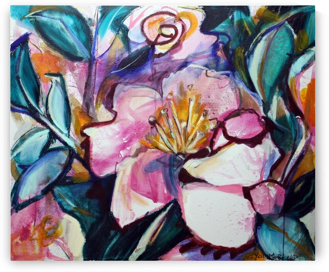 Louisiana Pink and White Camillia by Caroline Youngblood