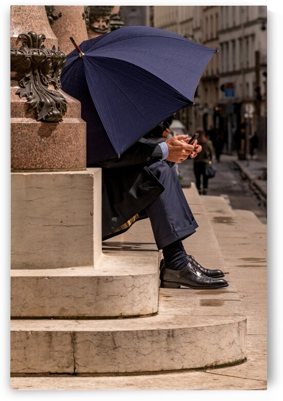 Blue Umbrella in Paris by Jean Farrell