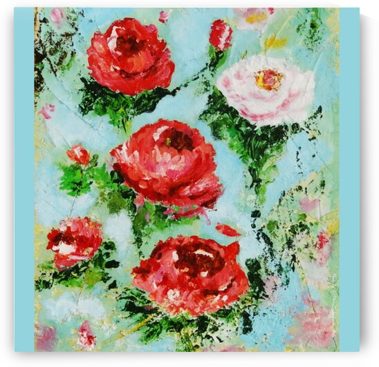 Roses on Aqua by Indrani Ghosh