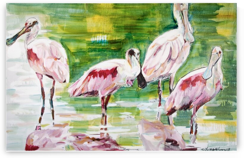 Louisiana Roseate Spoonbills Family of Four by Caroline Youngblood